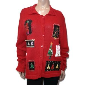 UGLY CHRISTMAS SWEATER Buttoned Knit Cardigan
